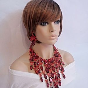Massive Red Cascading Glass Crystal Necklace Set